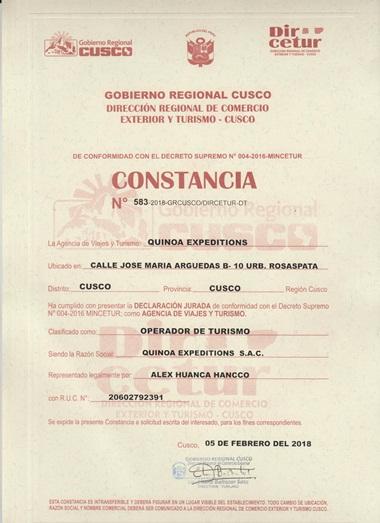 CONSTANCIA DIRCETUR-QE